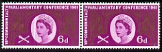 Great Britain 1961 Seventh Commonwealth Parliamentary Conference 6d horiz pair with left hand stamp showing a fine doctor blade flaw passing through the portrait oval, unmounted mint as SG 629