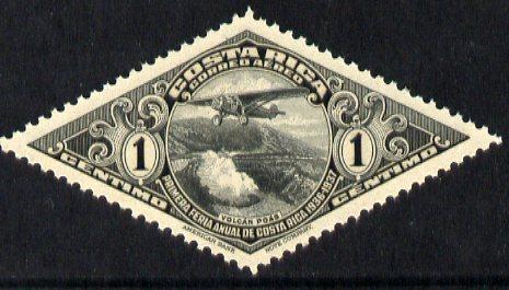 Costa Rica 1937 Air - First Annual Fair 1c black diamond shaped unmounted mint, SG 228