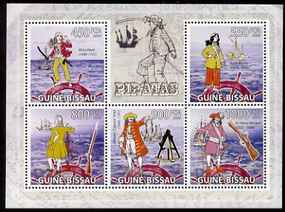 Guinea - Bissau 2009 Pirates & Ships perf sheetlet containing 5 values unmounted mint