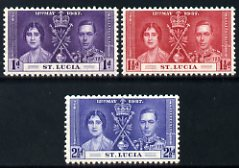 St Lucia 1937 KG6 Coronation set of 3 unmounted mint SG 125-7
