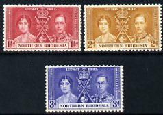 Northern Rhodesia 1937 KG6 Coronation set of 3 unmounted mint SG 22-4
