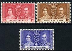 British Virgin Islands 1937 KG6 Coronation set of 3 unmounted mint SG 107-9