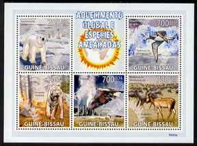 Guinea - Bissau 2009 Global Warming & Endangered Animals perf sheetlet containing 5 values unmounted mint