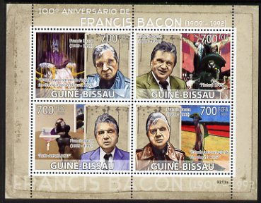 Guinea - Bissau 2009 Paintings by Francis Bacon perf sheetlet containing 4 values unmounted mint Michel 4158-61
