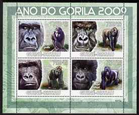 Guinea - Bissau 2009 Year of the Gorilla perf sheetlet containing 4 values unmounted mint Michel 4178-81