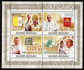 Guinea - Bissau 2009 80th Anniversary of the Vatican perf sheetlet containing 4 values unmounted mint Michel 4173-76