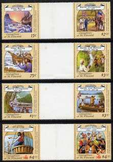 St Vincent - Grenadines 1988 Explorers set of 8 in 4 se-tenant inter-paneau gutter pairs (folded through gutters and minor wrinkles but very scarce in this unissued form)...