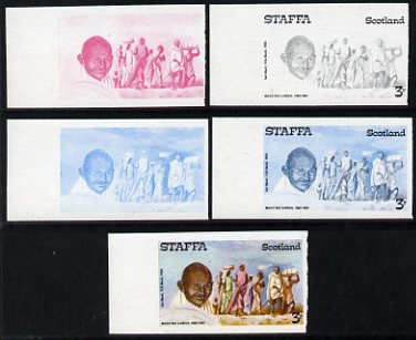 Staffa 1979 Gandhi 3p (on Salt March) set of 5 imperf progressive colour proofs comprising 3 individual colours (red, blue & yellow) plus 2 and all 4-colour composites unmounted mint