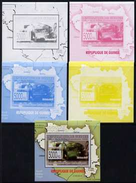 Guinea - Conakry 2009 Opening of Saka Higashi Line individual deluxe sheet #2 - the set of 5 imperf progressive proofs comprising the 4 individual colours plus all 4-colour composite, unmounted mint
