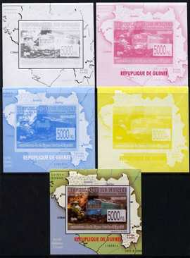 Guinea - Conakry 2009 Opening of Saka Higashi Line individual deluxe sheet #3 - the set of 5 imperf progressive proofs comprising the 4 individual colours plus all 4-colour composite, unmounted mint