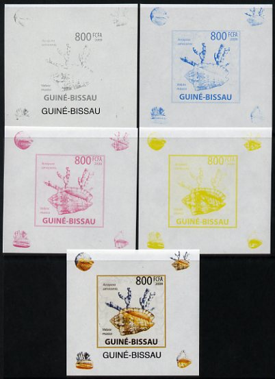 Guinea - Bissau 2009 Shells & Coral individual deluxe sheet #1 - the set of 5 imperf progressive proofs comprising the 4 individual colours plus all 4-colour composite, unmounted mint