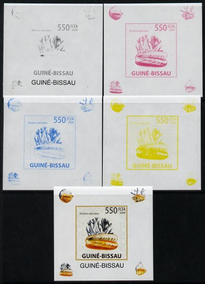 Guinea - Bissau 2009 Shells & Coral individual deluxe sheet #4 - the set of 5 imperf progressive proofs comprising the 4 individual colours plus all 4-colour composite, unmounted mint