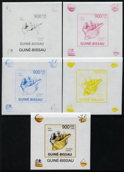 Guinea - Bissau 2009 Shells & Coral individual deluxe sheet #5 - the set of 5 imperf progressive proofs comprising the 4 individual colours plus all 4-colour composite, unmounted mint