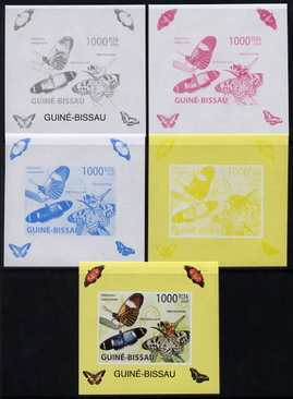 Guinea - Bissau 2009 Butterflies individual deluxe sheet #2 - the set of 5 imperf progressive proofs comprising the 4 individual colours plus all 4-colour composite, unmounted mint