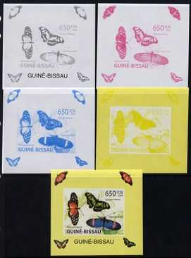 Guinea - Bissau 2009 Butterflies individual deluxe sheet #3 - the set of 5 imperf progressive proofs comprising the 4 individual colours plus all 4-colour composite, unmounted mint