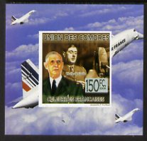 Comoro Islands 2009 French Celebrities individual imperf deluxe sheet #2 - Charles de Gaulle & Concorde unmounted mint as Michel 2239