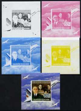 Comoro Islands 2009 French Celebrities individual deluxe sheet #2 - Charles de Gaulle & Concorde  - the set of 5 imperf progressive proofs comprising the 4 individual col...