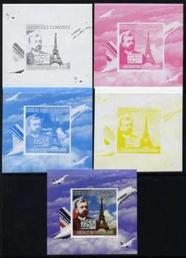 Comoro Islands 2009 French Celebrities individual deluxe sheet #3 - Gustav Eiffel & Concorde - the set of 5 imperf progressive proofs comprising the 4 individual colours plus all 4-colour composite, unmounted mint as Michel 2240