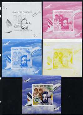 Comoro Islands 2009 French Celebrities individual deluxe sheet #4 - Serge Gainsbourg & Concorde - the set of 5 imperf progressive proofs comprising the 4 individual colours plus all 4-colour composite, unmounted mint as Michel 2241