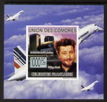 Comoro Islands 2009 French Celebrities individual imperf deluxe sheet #6 - Philippe Starck & Concorde unmounted mint as Michel 2243