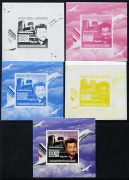 Comoro Islands 2009 French Celebrities individual deluxe sheet #6 - Philippe Starck & Concorde - the set of 5 imperf progressive proofs comprising the 4 individual colours plus all 4-colour composite, unmounted mint  as Michel 2243