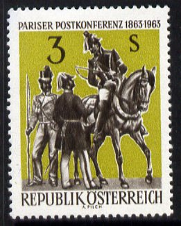 Austria 1963 Centenary of Paris Postal Conference unmounted mint, SG 1394