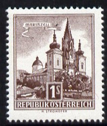 Austria 1957-70 Mariazell Basilica 1s light brown from Buildings def set unmounted mint, SG 1302