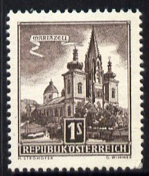 Austria 1957-70 Mariazell Basilica 1s sepia from Buildings def set unmounted mint, SG 1303