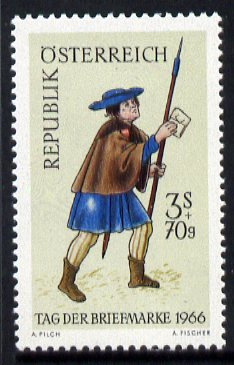 Austria 1966 Stamp Day - 16th-century Postman unmounted mint, SG 1491