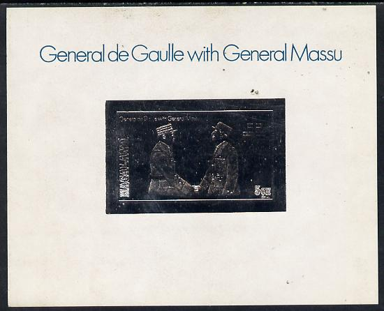 Nagaland 1979 De Gaulle with General Massu 5ch value embossed in silver on deluxe card