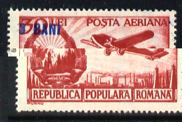 Rumania 1952 Surcharged 3b on 30L red Air stamp unmounted mint SG 2157a