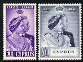 Cyprus 1948 KG6 Royal Silver Wedding set of 2 mounted mint SG 166-7