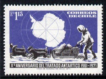 Chile 1972 10th Anniversary of Antarctic Treaty 1e15 unmounted mint, SG 687