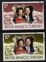 British Antarctic Territory 1972 Royal Silver Wedding set of 2 very fine cds used, SG 42-43