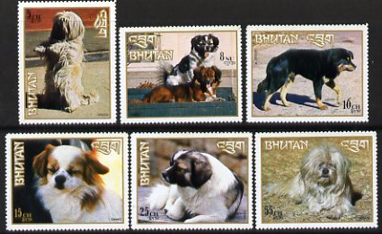 Bhutan 1972 Dogs perf set of 6,  SG 270-75 unmounted mint