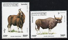 Cambodia 1995 Gaur & Kouprey from Protected Animals set unmounted mint, SG 1451-52