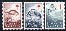 Finland 1961 Tuberculosis Relief Fund set of 3 (Muskrat, Otter, Seal) unmounted mint, SG 627-29