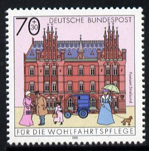 Germany 1991 Stralsund Post Office 70pf + 30pf, from Humanitarian Relief set unmounted mint, SG2417