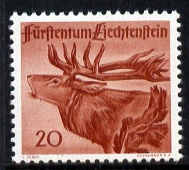 Liechtenstein 1946 Red Deer Stag 20r from Wildlife set unmounted mint, SG 252