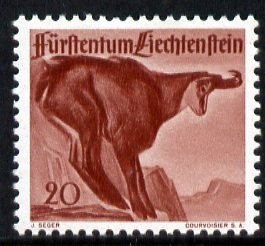 Liechtenstein 1946 Chamois 20r from Wildlife set unmounted mint, SG 255