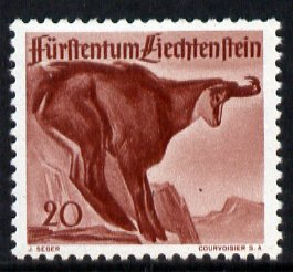 Liechtenstein 1946 Chamois 20r from Wildlife set mounted mint, SG 255