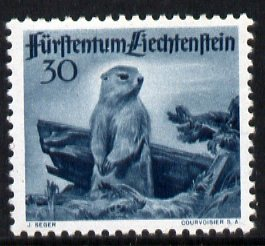 Liechtenstein 1946 Alpine Marmot 30r from Wildlife set unmounted mint, SG 256