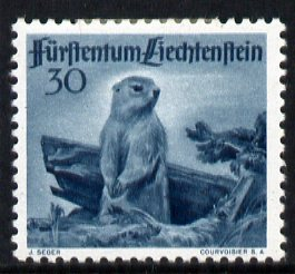 Liechtenstein 1946 Alpine Marmot 30r from Wildlife set mounted mint, SG 256