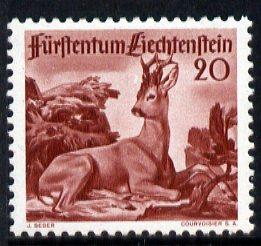 Liechtenstein 1946 Roebuck 20r from Wildlife set mounted mint, SG 283