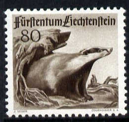 Liechtenstein 1946 Eurasian Badger 80r from Wildlife set mounted mint, SG 285