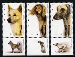 Israel 1987 World Dog Show (Dogs of Israeli Origin) set of 3 with tabs unmounted mint, SG 1024-26