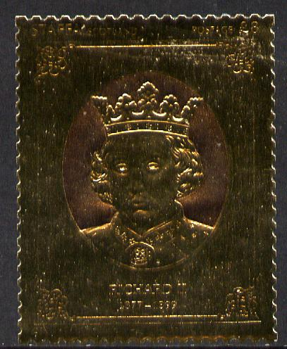Staffa 1977 Monarchs \A38 Richard II embossed in 23k gold foil (Rosen #479) unmounted mint