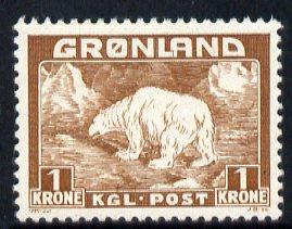 Greenland 1938 Polar Bear 1k brown mounted mint, SG 7