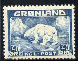 Greenland 1938 Polar Bear 40ore blue mounted mint (pulled perf), SG 6a