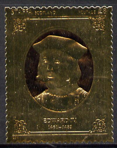 Staffa 1977 Monarchs \A38 Edward IV embossed in 23k gold foil (Rosen #483) unmounted mint
